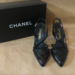 CHANEL | Patent Leather Slingback Pumps